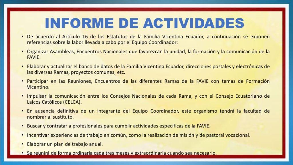 INFORME DE ACTIVIDADES FAVIE